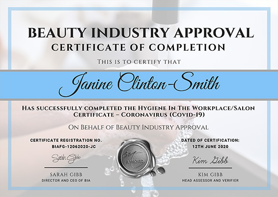 Certificate for Hygiene In The Workplace/Salon